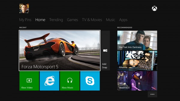 Xbox One - Dashboard Home User Interface