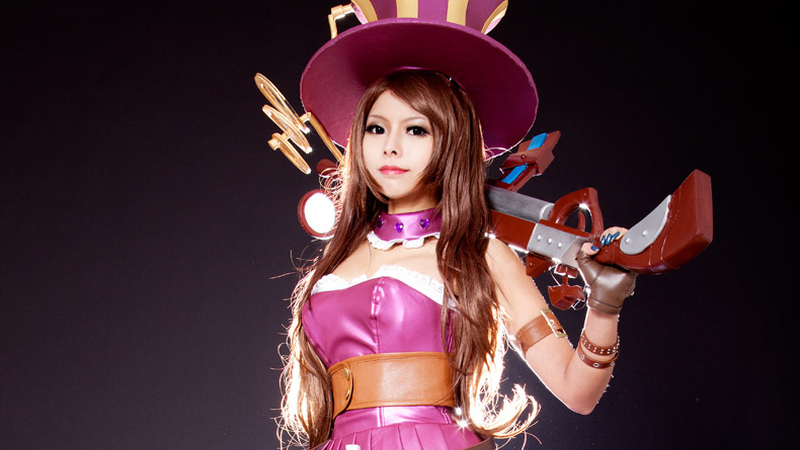 Cosplay da Caitlyn - League of Legends - Vestido Rosa Index