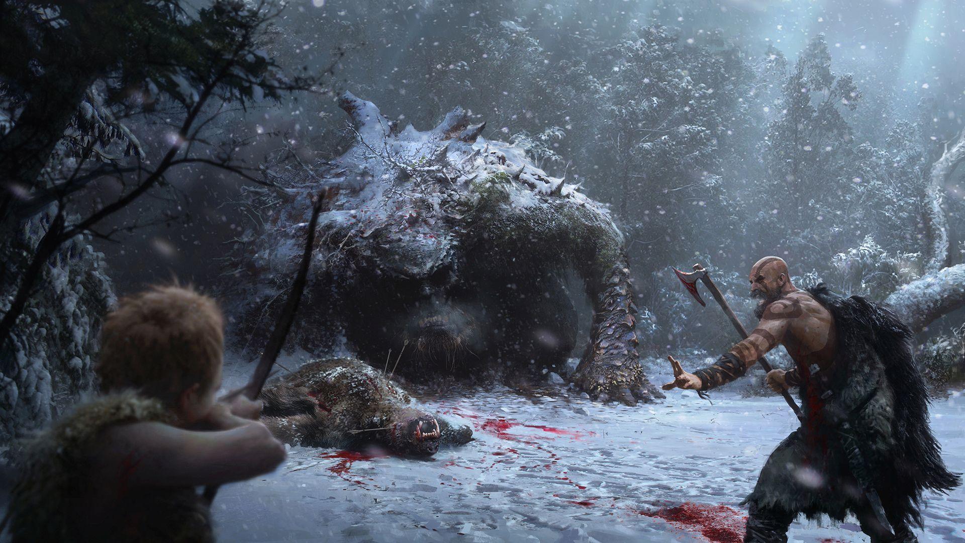 God of War PS4 - Arte Conceitual - Midgard Winter 01