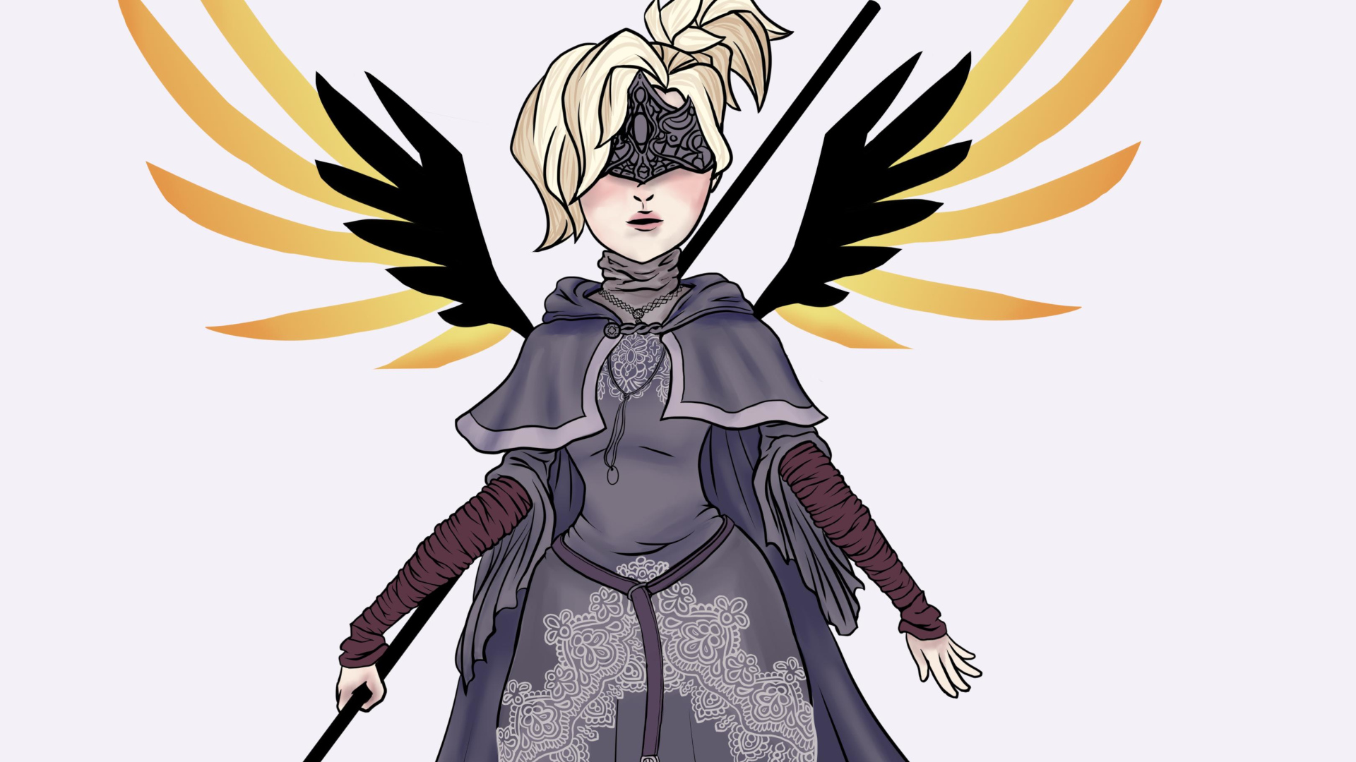 Mercy Fire Keeper - Dark Souls Crossover com Overwatch - FanArt Wallpaper