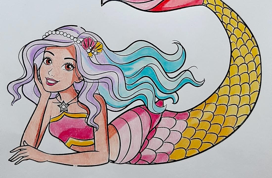 Boneca Barbie Sereia Dreamtopia - Colorindo um lindo desenho - Mermaid Coloring Pages Topo
